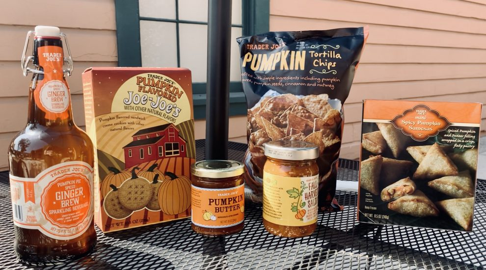 Pumpkin-themed products from Trader Joe's.
