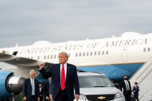 President Trump in front of plane