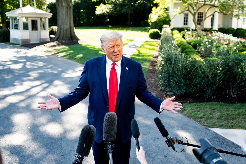 Trump in front of microphones