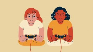 Video game graphic design two women playing video games